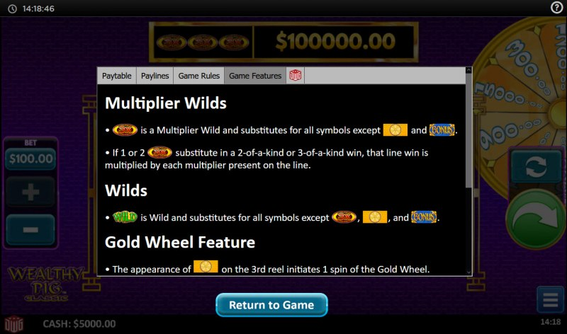 Wealthy Pig Classic :: Multiplier Wilds