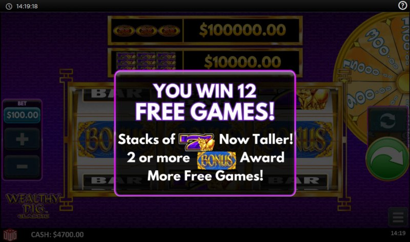 Wealthy Pig Classic :: 12 free spins awarded