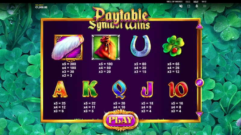 Well of Wishes :: Paytable