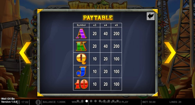 Well Oil Be! :: Paytable - Low Value Symbols