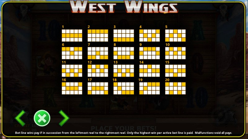 West Wings :: Paylines 1-20