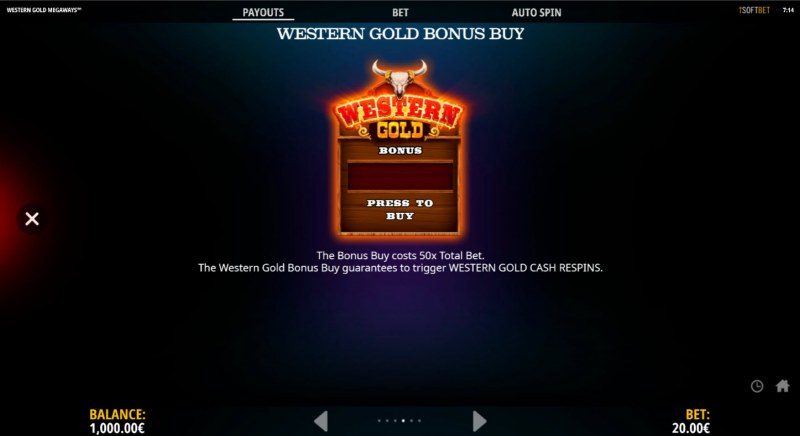 Western Gold Megaways :: Buy Feature