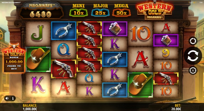 Western Gold Megaways :: Main Game Board