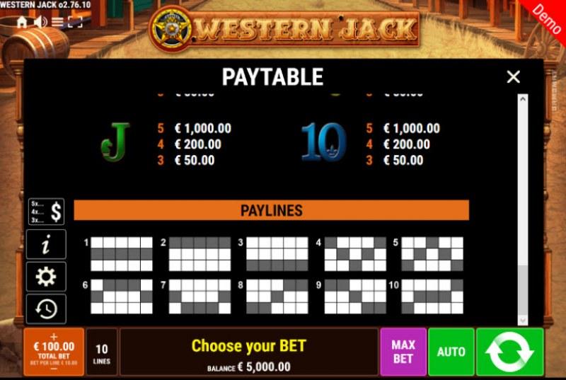 Western Jack :: Paylines 1-10