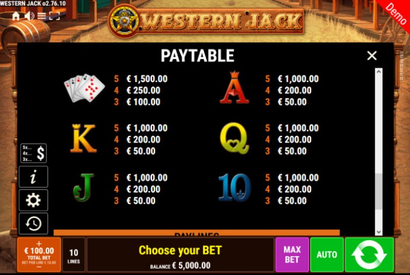 Western Jack :: Paytable - Low Value Symbols