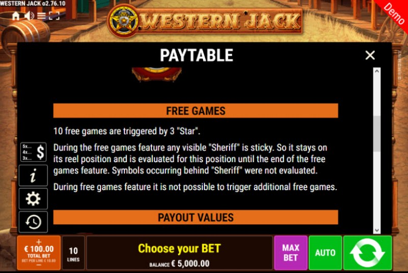 Western Jack :: Free Spins Rules