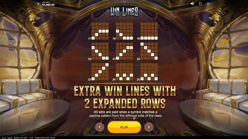 Wheel of Amp :: Extra Win Lines with 2 Expanded Rows