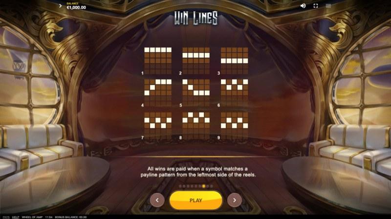Wheel of Amp :: Paylines 1-9