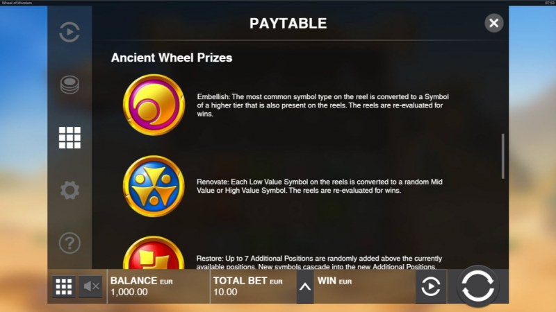 Wheel of Wonders :: Ancient Wheel Prizes