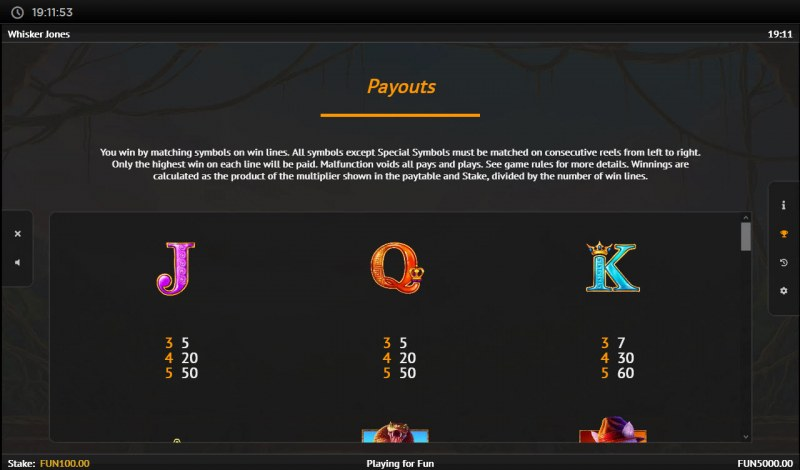 Whisker Jones :: Paytable - Low Value Symbols