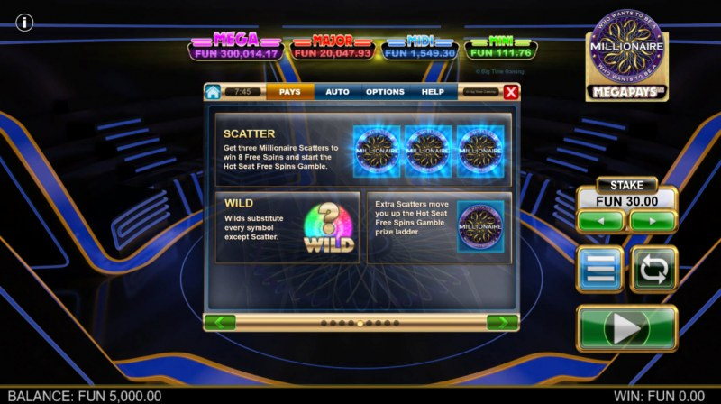 Who Wants to be A Millionaire Megapays :: Wild and Scatter Rules