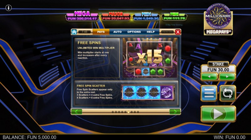 Who Wants to be A Millionaire Megapays :: Free Spin Feature Rules