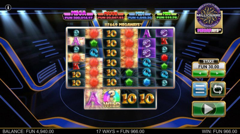 Who Wants to be A Millionaire Megapays :: A three of a kind win