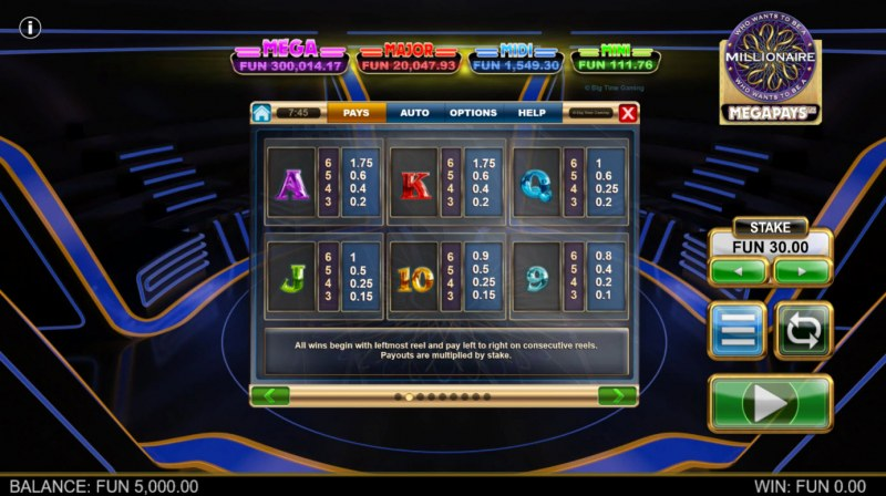 Who Wants to be A Millionaire Megapays :: Paytable - Low Value Symbols