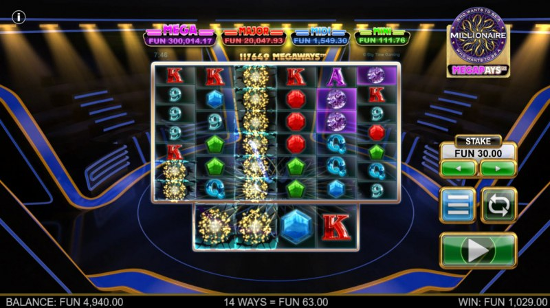 Who Wants to be A Millionaire Megapays :: Winning symbols are removed from the reels and new symbols drop in place