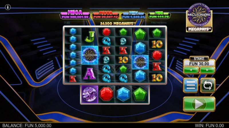 Who Wants to be A Millionaire Megapays :: Base Game Screen
