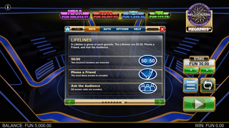 Who Wants to be A Millionaire Megapays :: Lifelines