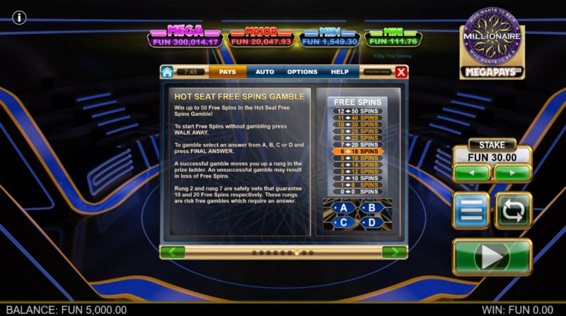 Who Wants to be A Millionaire Megapays :: Hot Seat Free Spins Gamble