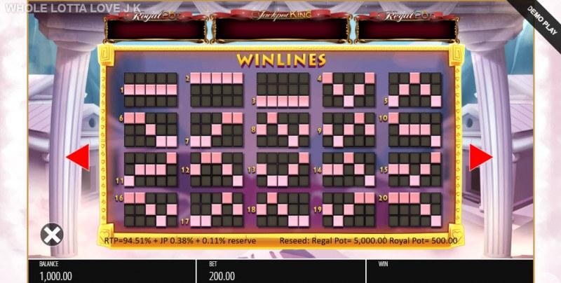 Whole Lotta Love Jackpot King :: Paylines 1-20