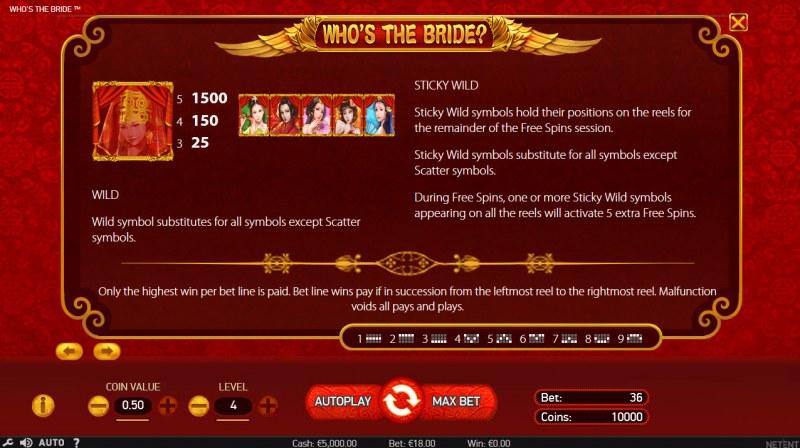 Who's The Bride :: Wild Symbols Rules