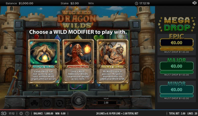 Wicked Dragon Wilds Mega Drop :: Select a wild feature to use during game play