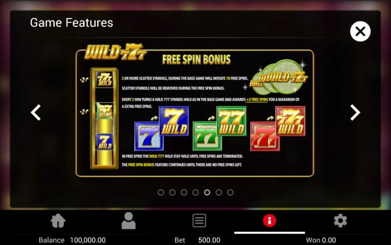 Wild 777 :: Free Spin Feature Rules