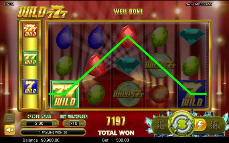 Wild 777 :: A three of a kind win