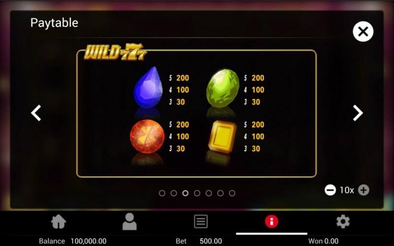 Wild 777 :: Paytable - Low Value Symbols