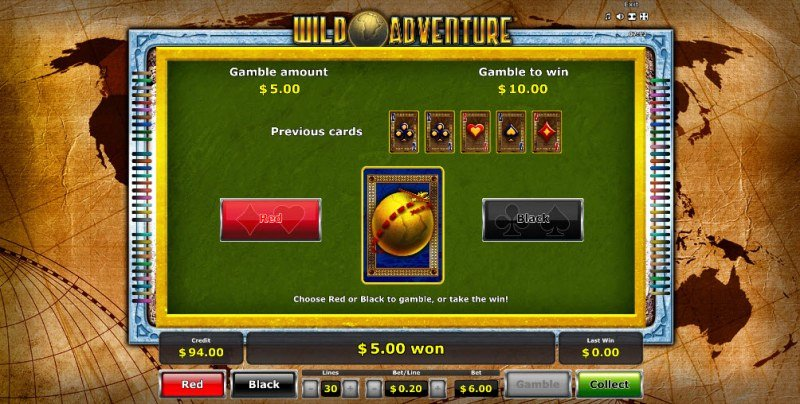 Wild Adventure :: Red or Black Gamble Feature