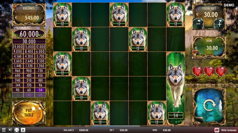 Wild Animals :: Earn additional free spins when wolf symbol land on the reels