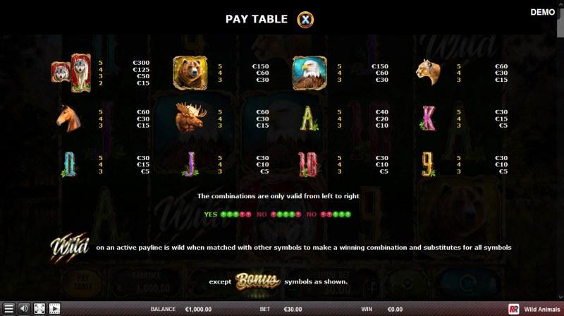 Wild Animals :: Paytable