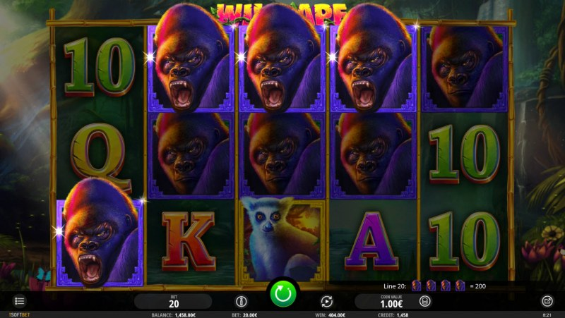 Wild Ape :: Multiple winning combinations leads to a big win