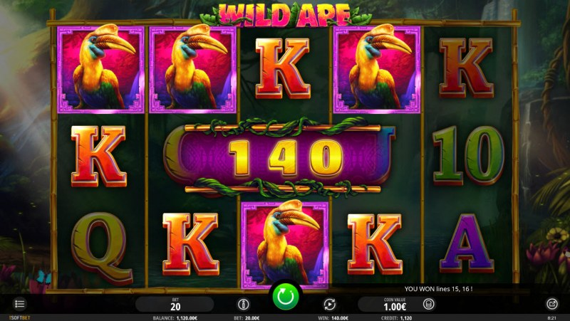 Wild Ape :: Multiple winning paylines