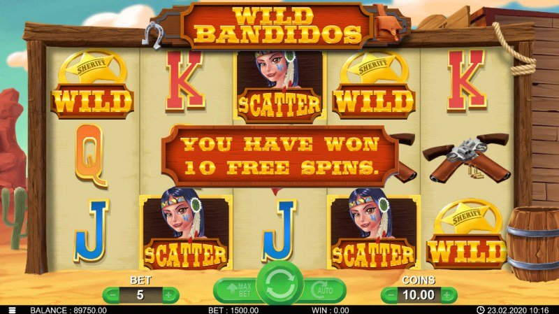Wild Bandidos :: Scatter symbols triggers the free spins feature