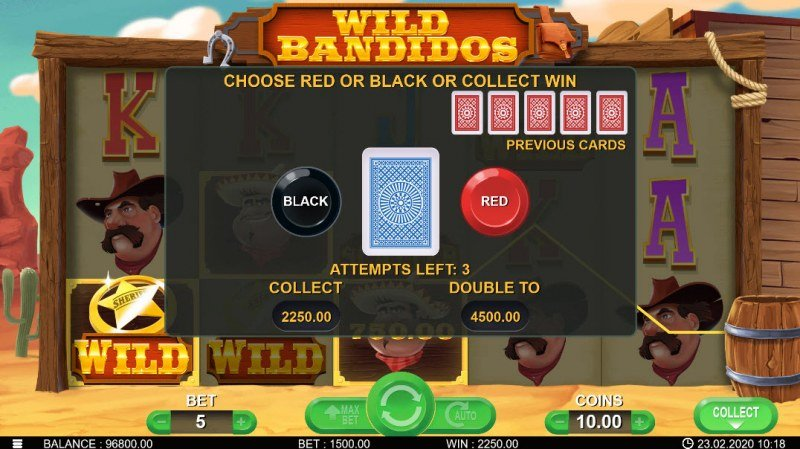 Wild Bandidos :: Black or Red Gamble Feature