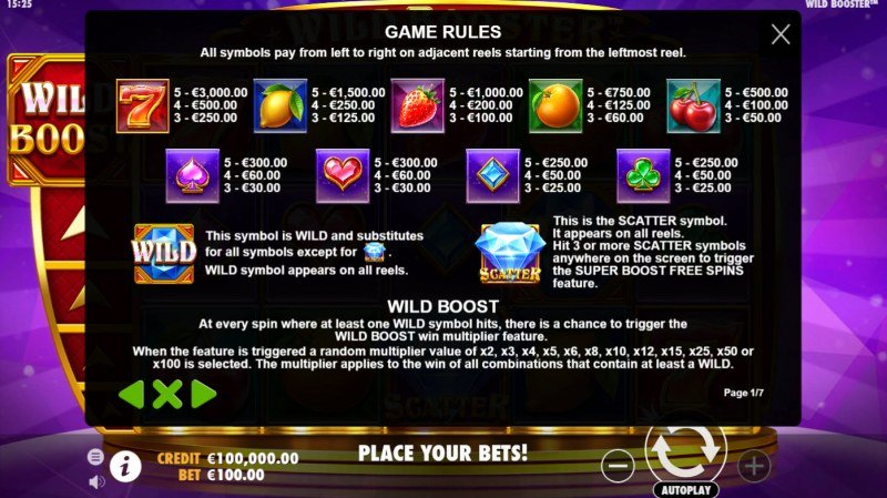 Wild Booster :: Paytable