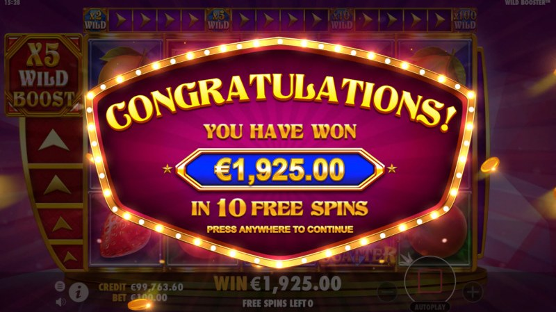 Wild Booster :: Total Free Spins Payout
