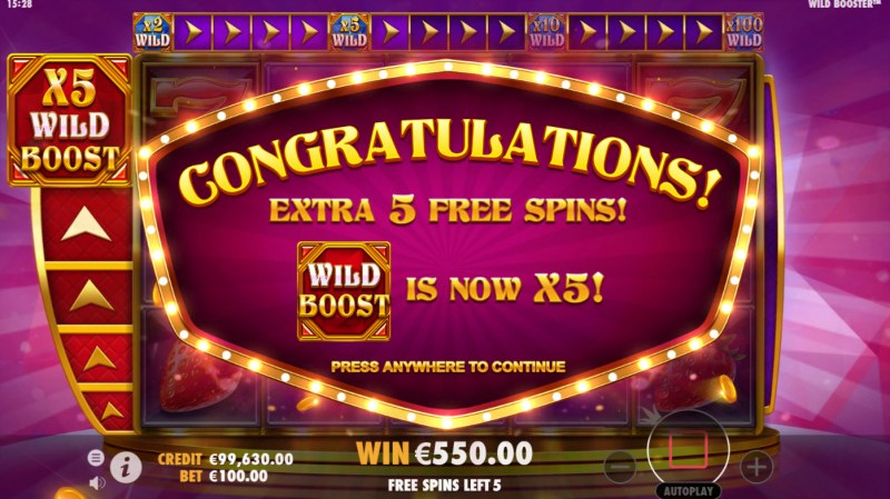 Wild Booster :: 5 Extra Free Spins Awarded
