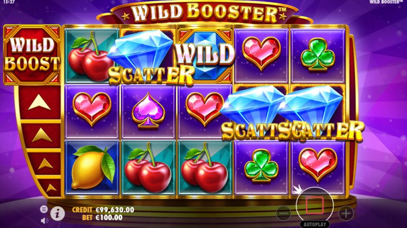 Wild Booster :: Scatter symbols triggers the free spins bonus feature