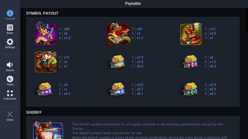 Wild Bullets :: Paytable