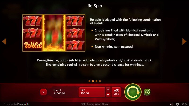 Wild Burning Wins :: Respins Feature Rules