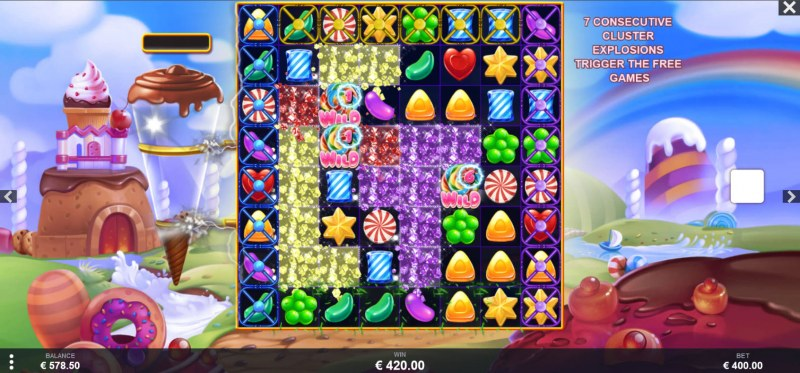 Wild Candy :: Winning symbols are removed from the reels and new symbols drop in place