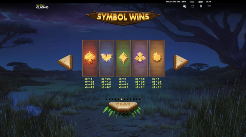 Wild Cats Multiline :: Paytable - Low Value Symbols
