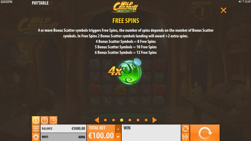 Wild Cauldron :: Free Spins Rules