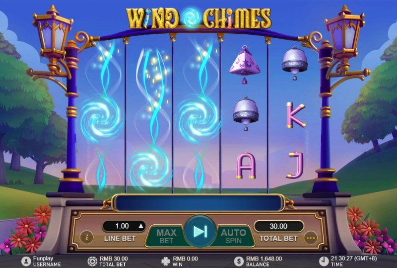 Wild Chimes :: Winning symbols are removed from the reels and new symbols drop in place