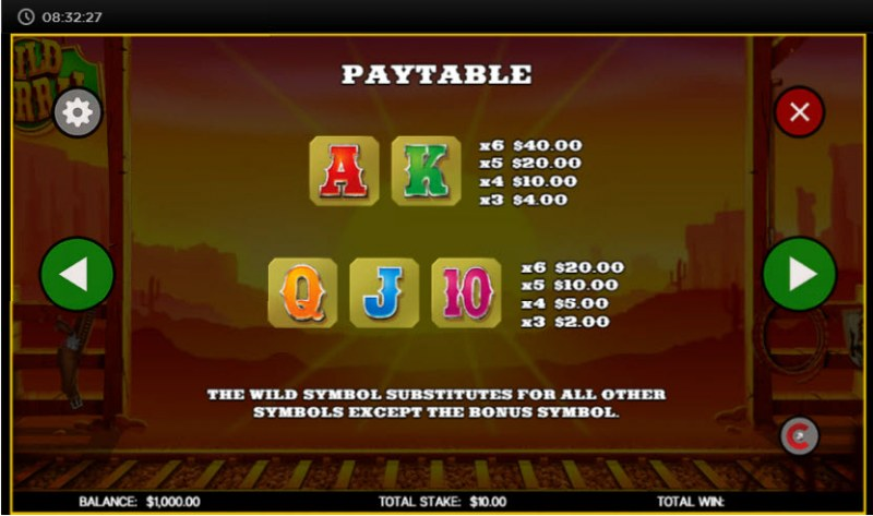 Wild Corral :: Paytable - Low Value Symbols