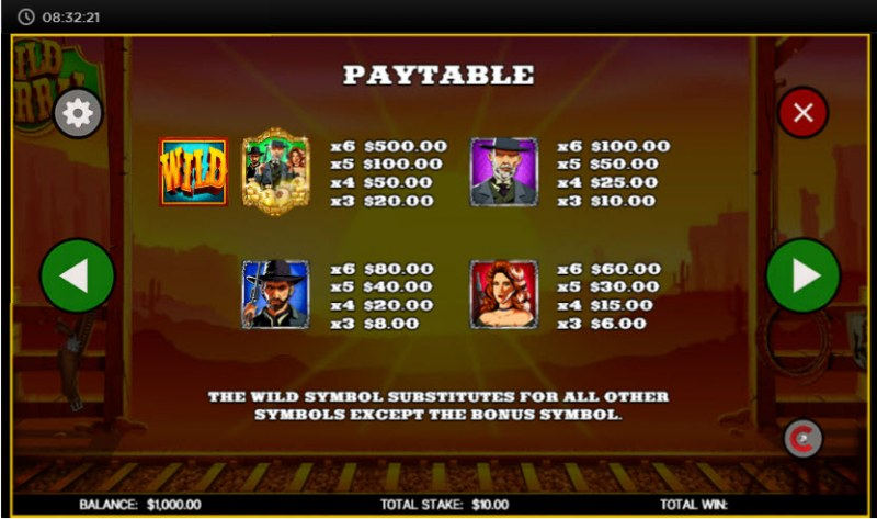Wild Corral :: Paytable - High Value Symbols