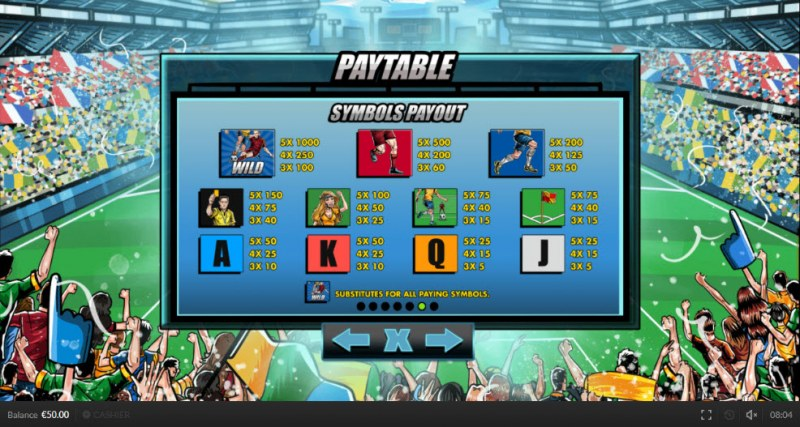 Wild Cup :: Paytable