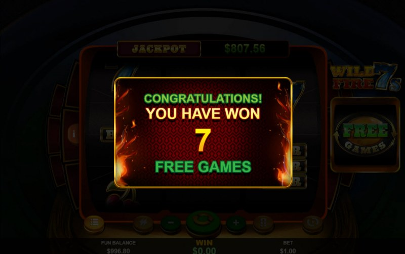 Wild Fire 7s :: 7 free spins awarded
