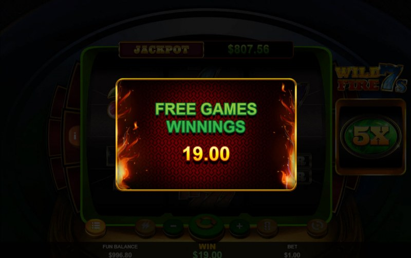 Wild Fire 7s :: Total Free Spins Payout